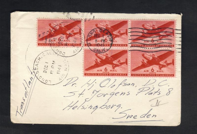 1941 US Air Mail Sc#C25(AP17)Block Of (4) Plus (1) Long Beach,Ca To Sweden