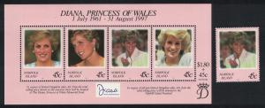 Norfolk Diana Princess of Wales Commemoration+MS SG#664-MS665