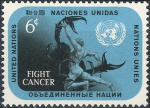 UN-NY #207 6c 10th International Cancer Congress - Fight Cancer MNH