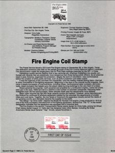 US SP777 Fire Engine 2264 Souvenir Page FDC