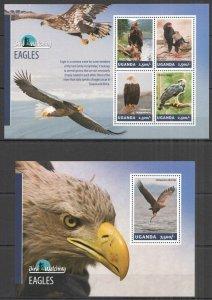 UG008 2014 UGANDA BIRDS OF PREY EAGLES BIRD WATCHING FAUNA #3260-3+BL459 MNH