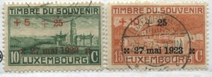 Luxembourg 1923 overprinted Semi-Postals used