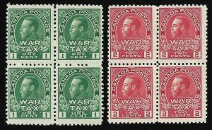 Doyle's_Stamps: MNH 1915 Canadian War Tax Blocks, Scott #MR1** & #MR2**, cv $520