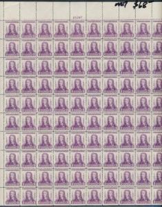 #726 GENERAL OGLETHORPE 3¢ SHEET OF 100 CV $85.00 BQ3262