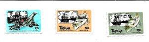 TONGA - Transport Series o/p  OFFICIAL - Perf 3v Set - M N H