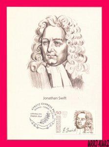 KYRGYZSTAN 2017 Famous People Writer Jonathan Swift (1667-1745) Maxicard Card