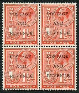 Malta SG176 1d Rose-red M/M Block of 4