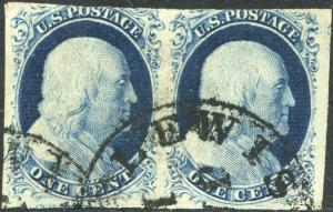 #9 USED PAIR WITH TOWN CANCEL POS.52-53L1L CV $240.00 BN9179