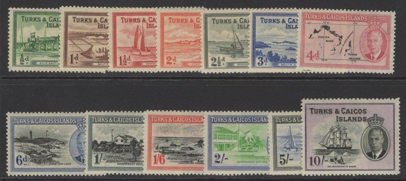 TURKS & CAICOS IS. SG221/33 1950 DEFINITIVE SET MTD MINT