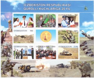 Uzbekistan. 2012. Small sheet 992-99. Military. MNH.