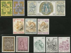 VATICAN Sc#705-717 Five Sets 1982 Year Complete (No Souvenir Sheet) Mint OG NH