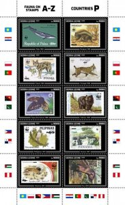 SIERRA LEONE - 2020 - Fauna on Stamps - Perf 10v Sheet - Mint Never Hinged