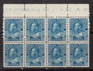 Canada #117a VF/NH Plate #21 Block Of Eight
