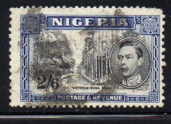 Nigeria Sc 63c 1938 2/6d G VI & Victoria Poad GVI  stamp used perf 13 x 11 1/2