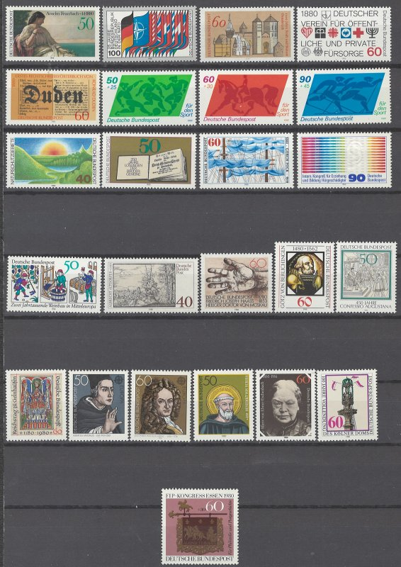 COLLECTION LOT # 1977 GERMANY 24 MNH STAMPS 1980 cv+$21
