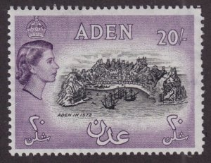 Aden Sc #61A (1953-9) 20sh Queen Elizabeth II w/Guideline Mint Key Value VF NH