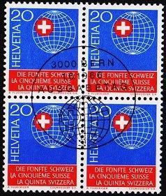 Switzerland. 1966 20c(Block of 4). S.G.739 Fine Used