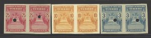 COSTA RICA TIMBRE REVENUE PAIRS IMPERF PROOF w HOLE MNH