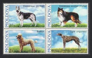 Moldova Dogs 4v Block of 4 SG#557-560