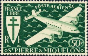 SAINT-PIERRE-&-MIQUELON - 1942 - Yv.PA9 / Mi.322 50fr vert - Mint*