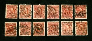 US Stamps # 305 VF-XF Used Lot of 12