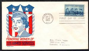 US 1013 Women in the Armed Forces Cachet Craft Boll U/A FDC