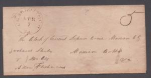 **US Stampless Cover, Charlotte Ch, VA, VF Unlisted Brown CDS April 7th