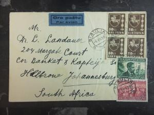 1939 Siauliai Lithuania Airmail cover To Johannesburg South Africa
