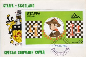Staffa 1976 (Scotland) CHESS/SCOUTS DELUXE SOUVENIR SHEET   IMPERFORATED  FDC