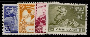 BRITISH VIRGIN ISLANDS GVI SG126-129, anniversary of UPU set, FINE USED.