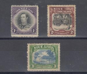 Niue KGVI 1938 1/- 2/- 3/- SG75/77 MH J5026