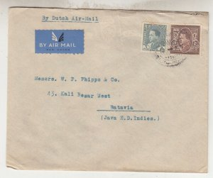 IRAQ, 1936 KLM Airmail cover, Baghdad to Neth. East Indies, 5f., 50f.