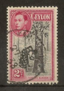 Ceylon 1938 2c 'Comma' Flaw SG386aa Fine Used Cat£170