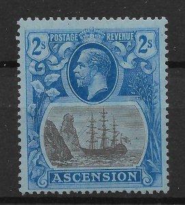 ASCENSION SG19c 1924 2/= GREY-BLACK & BLUE ON BLUE CLEFT ROCK VAR MTD MINT