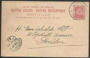 BR GUIANA 1903 2c postcard used Georgetown to London.......................49657