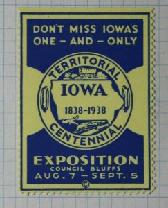 Iowa Territorial Centennial Expo 1938 Company Brand Ad Poster Stamp