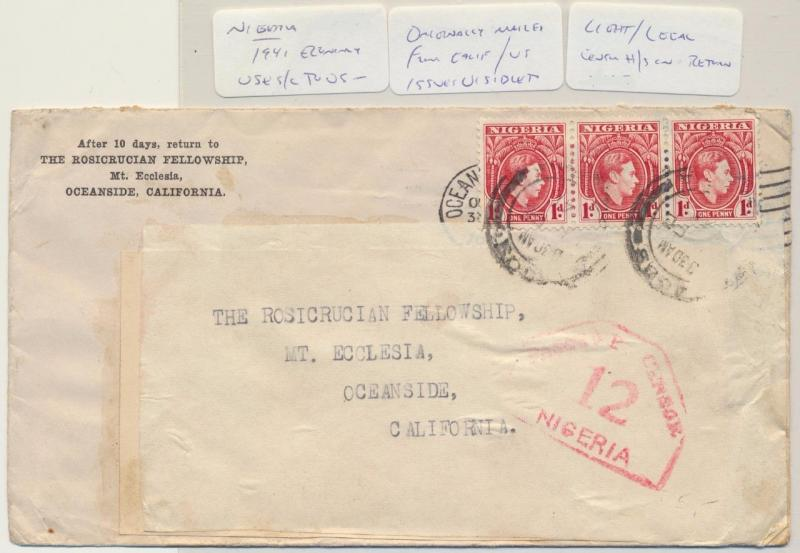 NIGERIA -USA 1941 CENSOR(#12) COVER, REUSED LABEL, 3d RATED (SEE BELOW