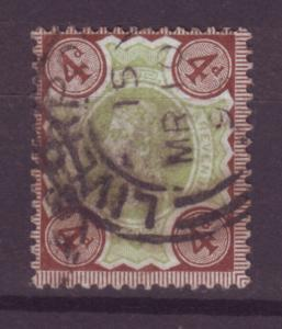 J13985 JLstamps 1887-92 great britain used #116 queen $14.00 scv