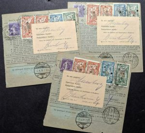 EDW1949SELL : FRANCE 3 Scarce 1928 Customs Cards with High Values.