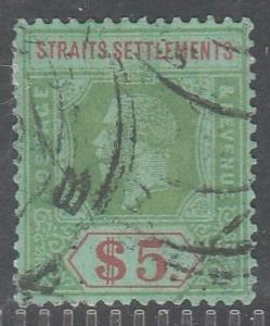 MALAYA Straits Settlements 1926 KG V $5 SG#240a Wmk MSCA USED MA1128