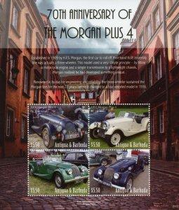 Antigua & Barbuda Cars Stamps 2021 MNH Morgan Plus 4 70th Anniv 4v M/S