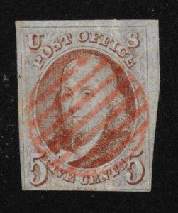 1b Used, 5c. Franklin, Orange- Brown, scv: $725, Free Insured Shipping