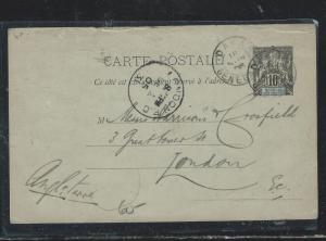 SENEGAL (PP2709B) 1905 10C  PSC TO LONDON  WITH MSG