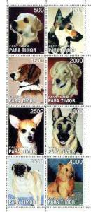 Timor (East) 1999 Dogs perf sheetlet containing complete ...