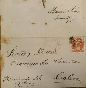 J) 1875 CHILE, COLON, CIRCULATED COVER, FROM CHILE TO CALERA
