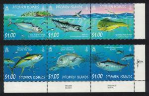Pitcairn Tuna Dorado Trevally Ocean Fish 6v 2 strips SG#749-754