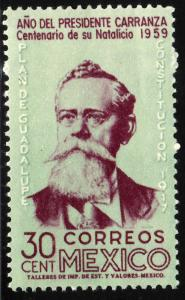 MEXICO 907, 30c Centenary Birth of Pres Carranza. MINT, NH. VF.