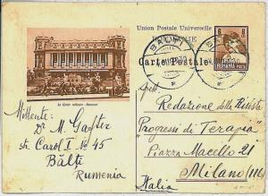 ROMANIA -  POSTAL HISTORY: PICTURE  Postal Stationery to ITALY 1930