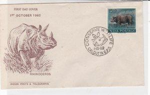 India 1962 Conserve Wildlife Rhino Pic Slogan Cancel & Stamp FDC Cover Ref 34706