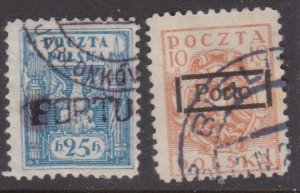 Poland two early issues with unlisted PORTO overprints